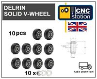 Delrin Solid V Wheel Black for V-Slot Aluminium Extrusion Profile rail CNC 3D UK