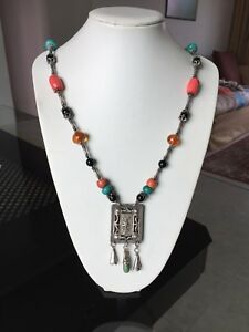 Antique Chinese Silver Pendant Necklace with Lapis, amber, turquoise