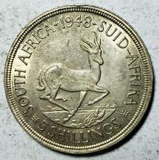 South Africa, 5 Shillings, 1948, Almost Uncirculated, .7273 Ounce Silver #4
