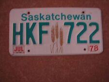 "SASKATCHEWAN 1978 CANADA PASSENGER LICENSE PLATE "" HKF 722"" SK 78 WHEAT GRAPHIC"