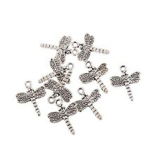 10PCS Tibetan Silver Dragonfly Bead Charm Pendant Fit Bracelet Jewelry Making