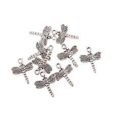 10PCS Tibetan Silver Dragonfly Bead Charm Pendant Fit Bracelet Jewelry Making