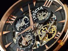 Invicta Men 47mm Ghost MoonFace Objet d'Art Skeleton Auto 18KRGP Blk Strap Watch
