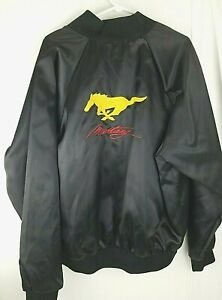 VTG FORD MUSTANG Black Satin Bomber Jacket  size XL  made in USA