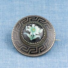 Victorian Sterling Silver Painted Enamel Porcelain Pin Brooch England Jewelry