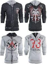 AFFLICTION Men Hoodie Sweat Shirt ZIP UP Jacket REVERSIBLE Death Spade $98