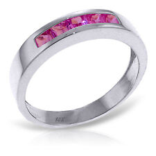 Platinum Plated 925 Sterling Silver Rings w/ Natural Pink Sapphires
