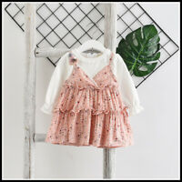 BABY GIRLS  PINK FLOWER DRESS- OUTFIT - PINAFORE DRESS BRACES-DUNGAREE