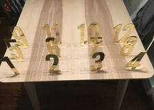Gold Mirror Table Numbers Standing Acrylic Table Wedding Decorations (#1-12 inc)