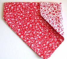 Dog Pet Bandana Double Sided Red and White Flower Slips Onto Collar