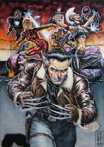 Edward Cherniga X-Men AP Painted Sketch Marvel Beginnings Days of Future Past EC