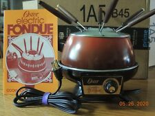 Vintage Oster Electric Fondue Set Flame Red, Booklet and 6 forks included