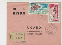 Rep Du Congo 1969 Regd Airmail Sibiti Cancels Olympics Stamps Cover Ref 30720