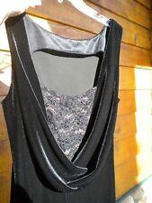WOMENS FORMAL EVENING PARTY DRESS GOWN BLACK VELVET W/ LACE SEQUIN CHEST SIZE 8