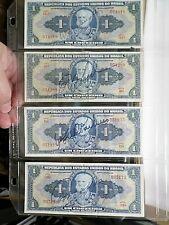 1944 Set 4 Old Brasil Notes, Different Signatures, Marques de Tamandare, Brazil