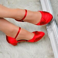 Womens Satin Low Heel Court Shoes Mary Jane Pumps Evening Party Bridesmaid Size