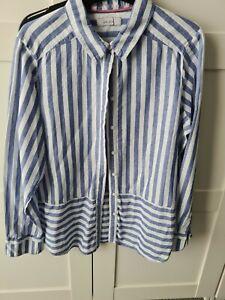 Ladies M&S Per Una Stripe Linen Shirt Top Size 14