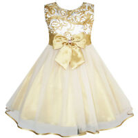 Flower Girls Dress Bow Tie Champagne Wedding Pageant Age 2-10 Years Formal Party