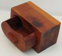 Vintage Handmade Wooden Box Knotty Pine Wooden Trinket Box With Pull-out Drawer