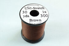 1x30 yards Fil montage FLOCHE UNI STRETCH MARRON 1-0 truite peche mouche thread