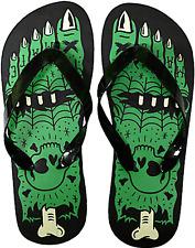 85504 Black Green Womens Monster Feet Flip Flops Sourpuss US 6 EUR 3.5 Horror