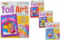 Foil Art Kits - 4 Designs - Unicorn Fairy Owl Bumble Bee - Craft Play Set
