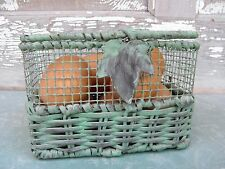 Shabby Green Chicken Wire Egg Basket Recipe Box Holder Organizer