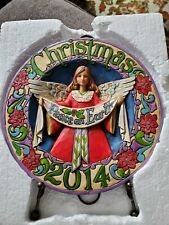 """Jim Shore Heartwood Creek 2014 """"May Peace Fill Your Days"""" Christmas Plate+Easel"""