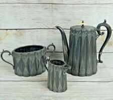 Antique James Dixon & Sons Victorian Tea Service Teapot Creamer Sugar Bowl 4076