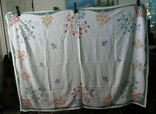 Hand Embroidered Heavy Linen Flowered and Butterfly Tablecloth