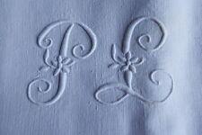 Service de table nappe 190 x 145 cm + 10 serviettes en lin monogramme PL