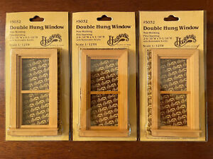 Set of 3 Houseworks Double Hung Window for Miniatures #5032 1/12th Scale