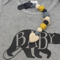 KQ_ Silicone Beads Baby Infant Teething Soother Pacifier Clip Chain Holder Exqui