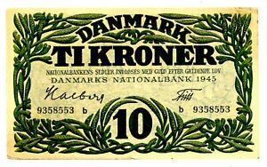 Denmark ... P-37c ... 10 Kroner ... 1945 ... * XF *