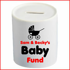 Personalised New Baby Saving Party Money Box Any Name Piggy Bank Fund Coins Gift
