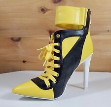 """CR Yellow Black Pointy Toe Lace Up Sporty 4.5"""" High Heel Ankle Boots"""