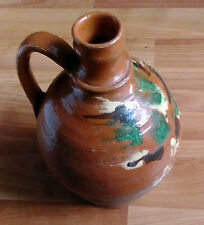 Romanian antique country pitcher clay jug pot traditional rustic pottery folk