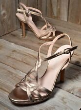 PURA LOPEZ Sz 37 (US 7) Champagne Gold Strappy Heels Leather NIB $450