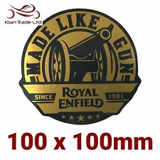 1x Royal Enfield Sticker - Make Life A Gun, Decals, Gold and Black Large,Sticker