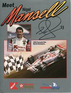 Nigel Mansell Autograph Signed Photo Race Car Formula One Driver Cart IndyCar