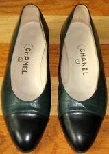 CHANEL BALLERINA BALLET FLATS SHOES DARK GREEN BLACK LEATHER CAP TOE 39 8.5 EC