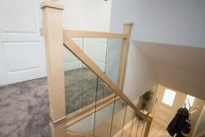 Oak and Glass Staircase Handrail Banister Set including Glass Panels for £1097