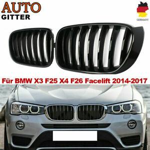 Sport Kühlergrill Nieren schwarz glänzend für BMW X3 F25 X4 F26 ab 14 GRILL