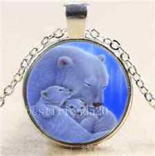 White Bear Mother And Baby Cabochon Glass Tibet Silver Chain Necklace