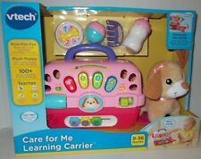 VTech Care For Me Learning Pink Pet Carrier & Plush Puppy 60+ Sounds Songs NIB