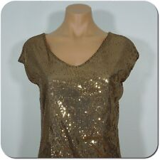THE LIMITED Women's Gold Sequin Sleeveless Top size S