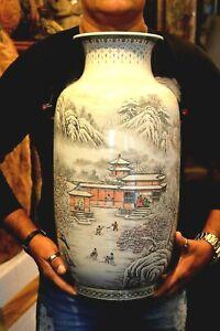 Large Porcelain Chinese Vase A Republic period Snow Scene, Artist He Xuren ?