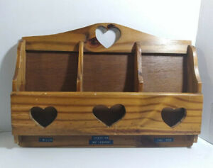 Wooden Hanging Wall Mail Organizer Holder With Heart Cutout