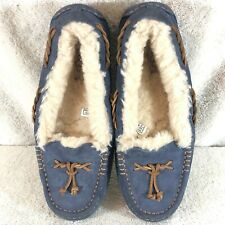 Ugg Brett Navy Sheepskin Shearling Lined Moc Toe Slippers Womens 7 - 7.5
