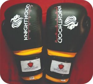 Genuine Cowhide Leather Boxing Gloves Glove Professional MMA Sparring 8-16oz